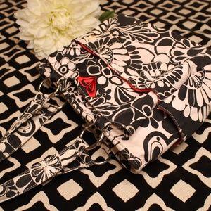 Roxy Black/White/Red Flowery Bag